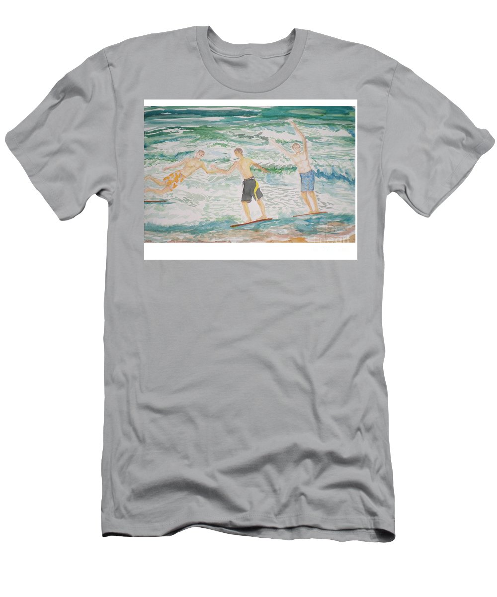 Seascape Men's T-Shirt (Athletic Fit) featuring the painting Skim Boarding Daytona Beach by Hal Newhouser