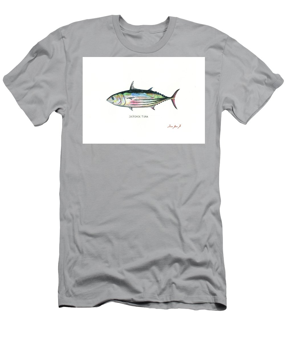 Tuna Fish Men's T-Shirt (Athletic Fit) featuring the painting Skipjack Tuna by Juan Bosco