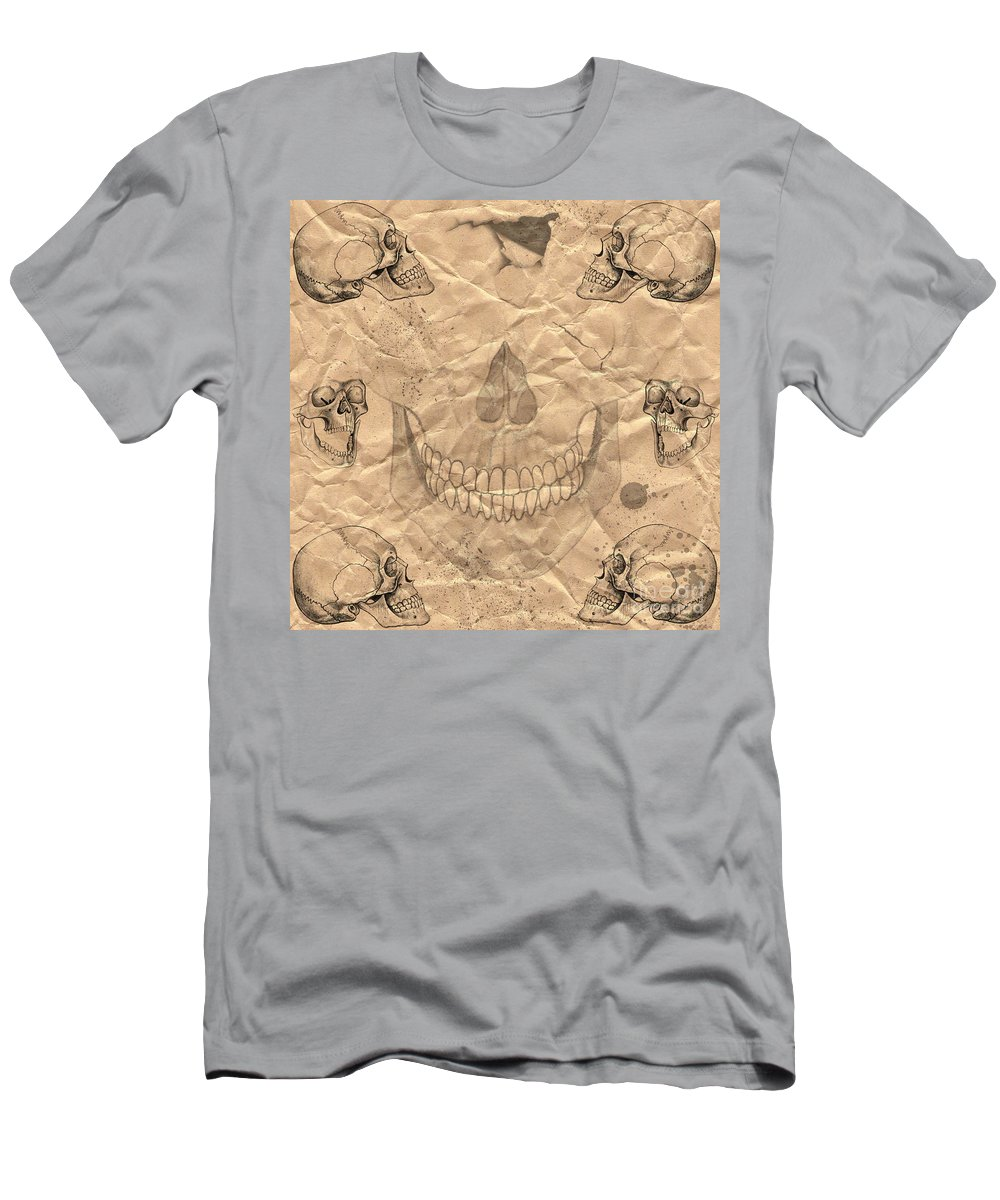 Halloween Men's T-Shirt (Athletic Fit) featuring the digital art Skulls In Grunge Style by Michal Boubin