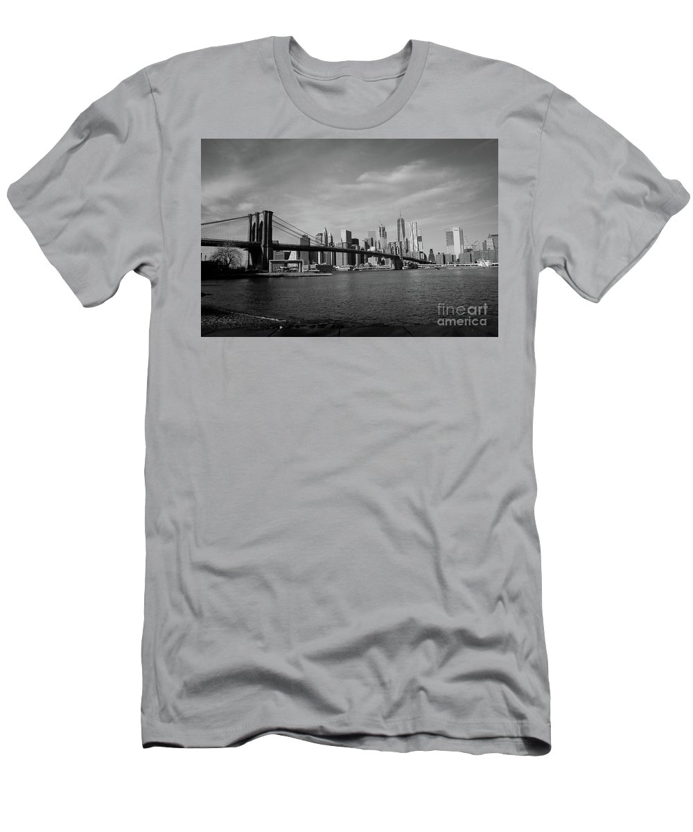 Brooklyn Men's T-Shirt (Athletic Fit) featuring the photograph Skyline And The Brooklyn Bridge by Victory Designs