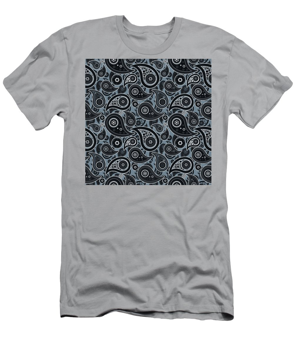Slate Men's T-Shirt (Athletic Fit) featuring the digital art Slate Gray Paisley Design by Ross