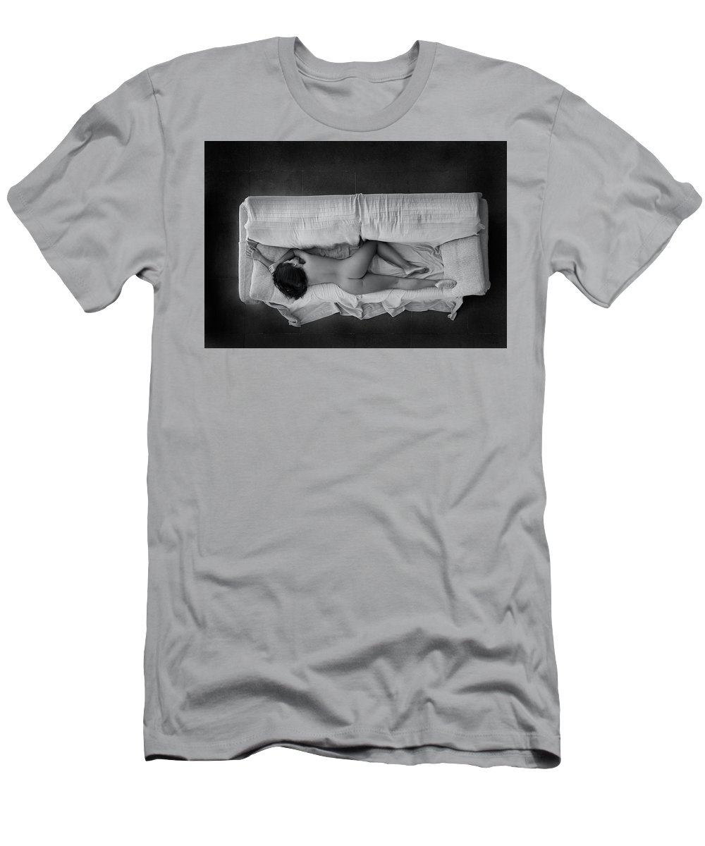 Naked Men's T-Shirt (Athletic Fit) featuring the photograph Sleeping by Flower Tiare