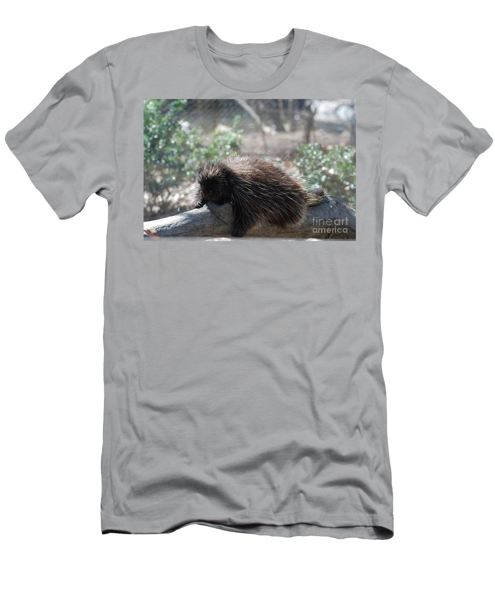 Porcupine Men's T-Shirt (Athletic Fit) featuring the photograph Sleeping Porcupine With Lots Of Quills by DejaVu Designs