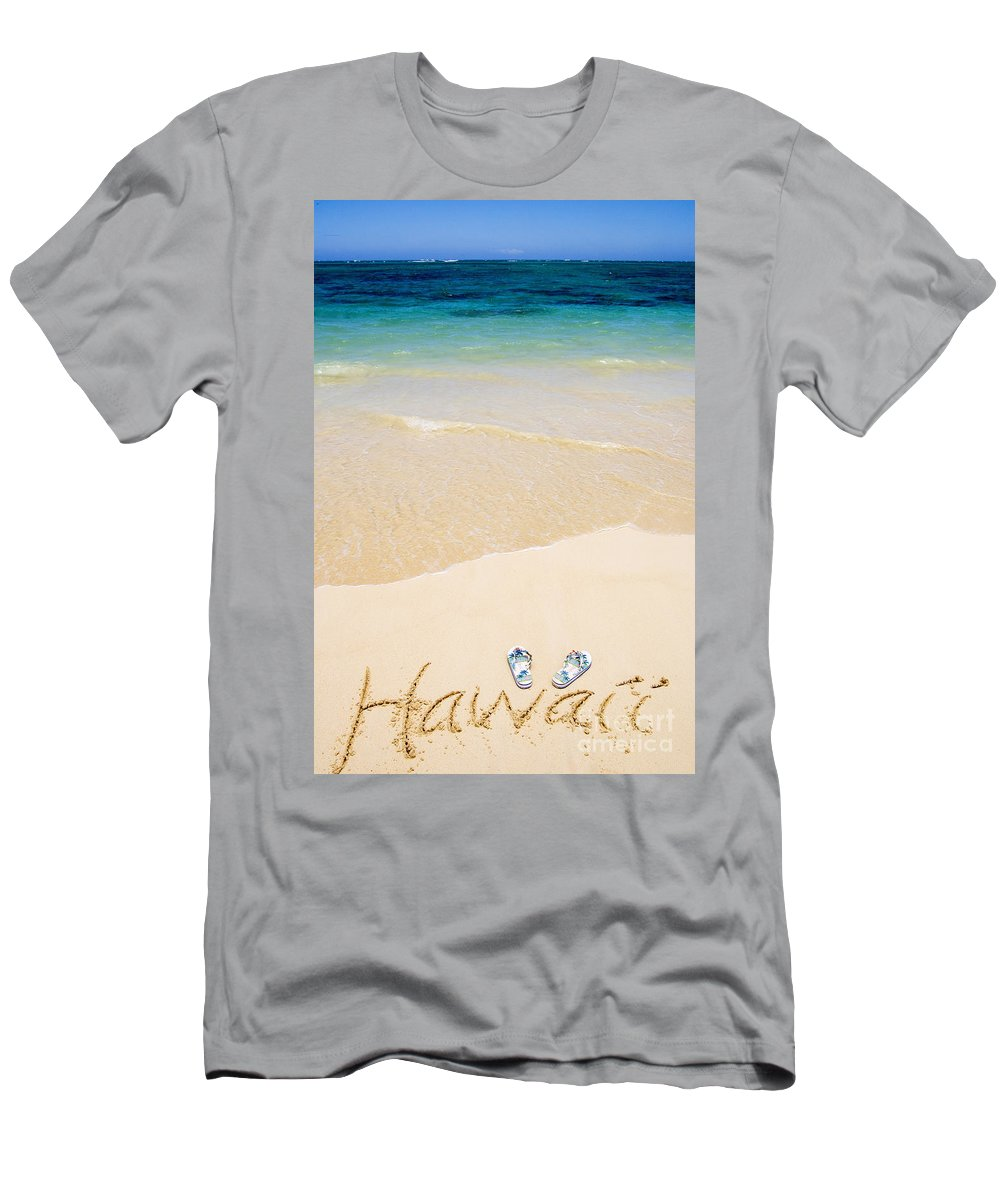 Beach Men's T-Shirt (Athletic Fit) featuring the photograph Slippers In The Sand by Tomas del Amo - Printscapes