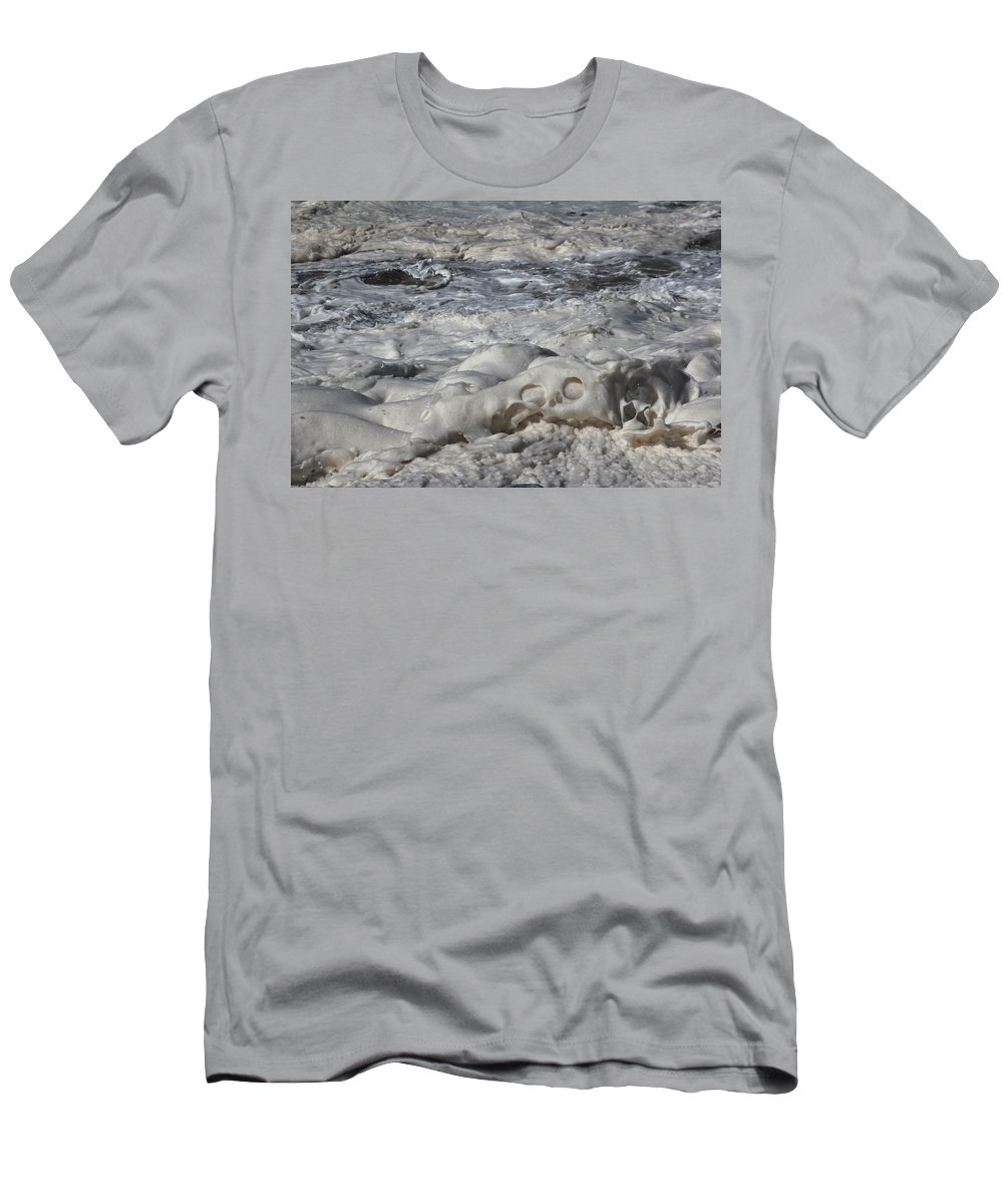 Momentary Water Sculptures Men's T-Shirt (Athletic Fit) featuring the photograph Sloppy Folding Over Of A Momenary Water Sculpture by Wernher Krutein