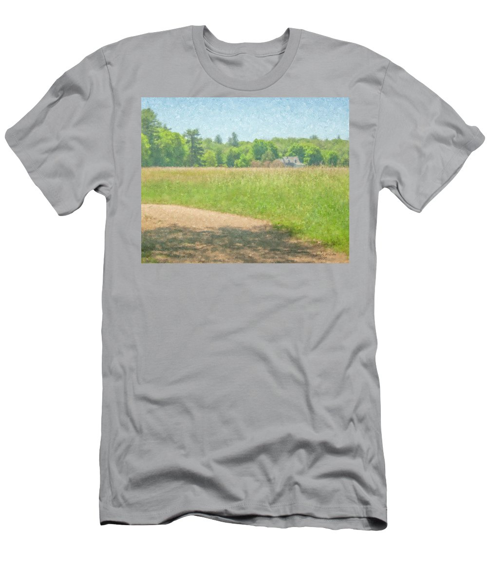Smith Farm Men's T-Shirt (Athletic Fit) featuring the painting Smith Farm In June 2016 by Bill McEntee