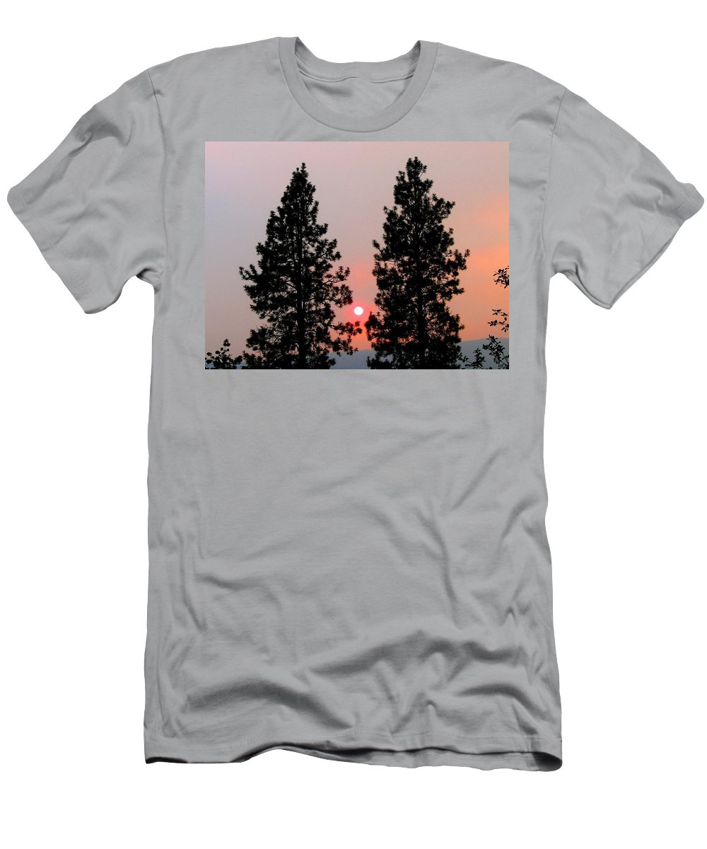 Smoke Men's T-Shirt (Athletic Fit) featuring the photograph Smokey Okanagan Sunset by Will Borden