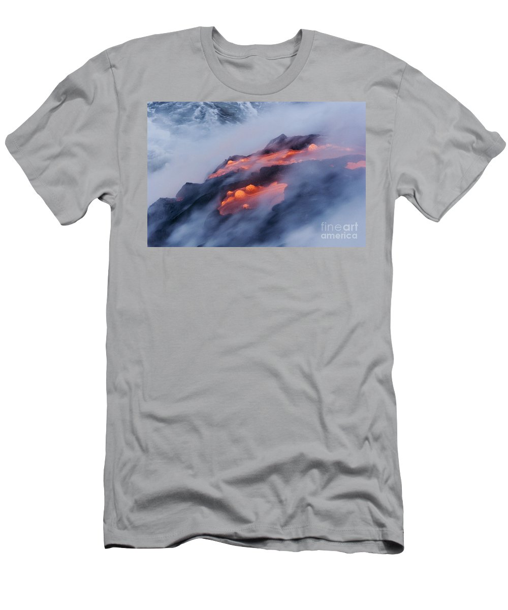 Abstract Men's T-Shirt (Athletic Fit) featuring the photograph Smoking Pahoehoe Lava by Ron Dahlquist - Printscapes