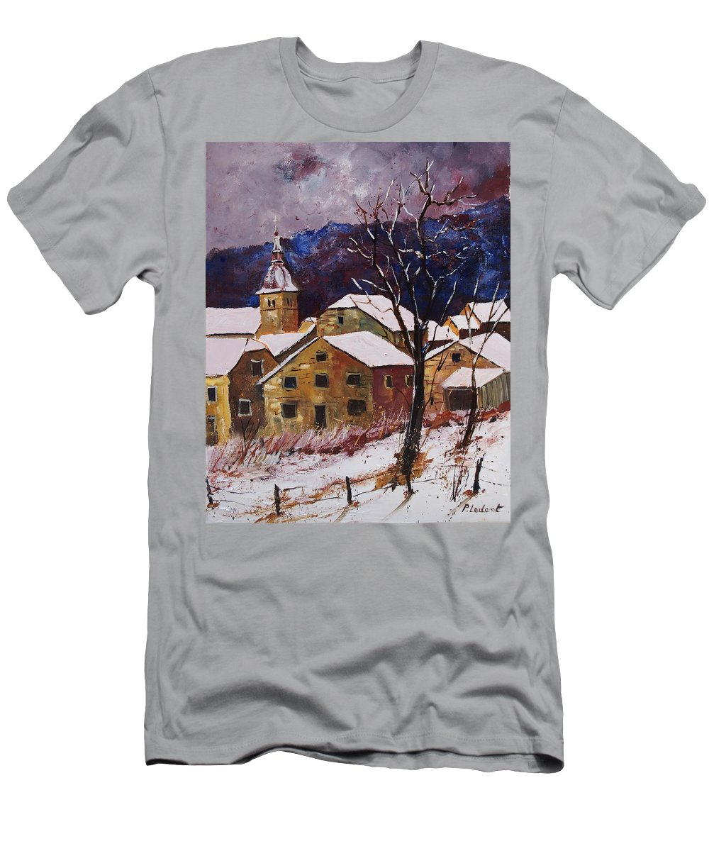 Landscape Men's T-Shirt (Athletic Fit) featuring the painting Snow In Chassepierre by Pol Ledent