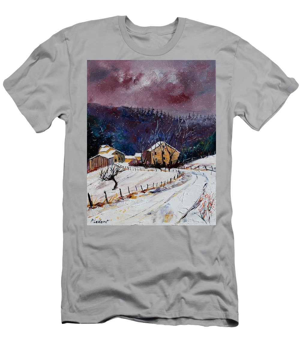 Landscape T-Shirt featuring the painting Snow In Sechery by Pol Ledent