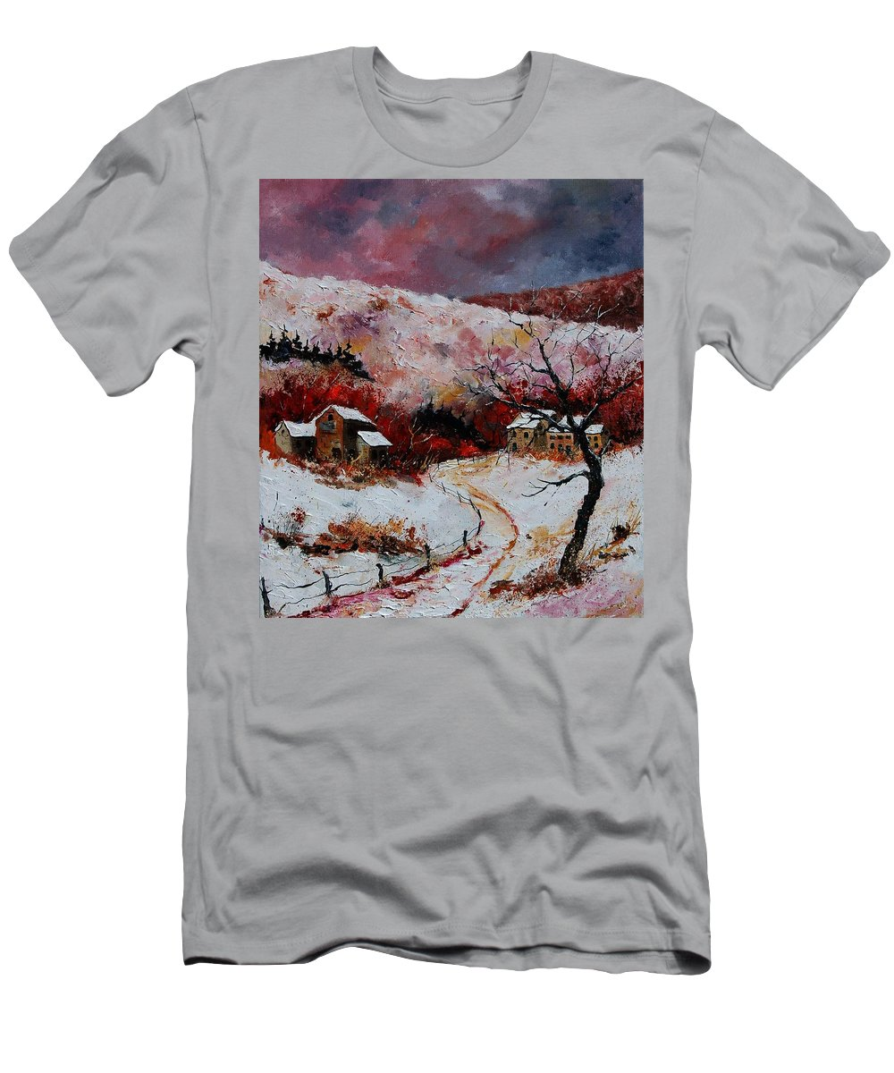Snow Men's T-Shirt (Athletic Fit) featuring the painting Snow In The Ardennes 78 by Pol Ledent