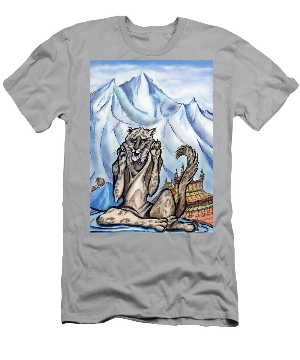 Ice Men's T-Shirt (Athletic Fit) featuring the painting Snow Leopard by Kevin Middleton