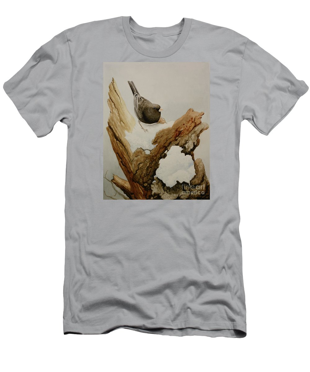 Junco Men's T-Shirt (Athletic Fit) featuring the painting Dark-eyed Junco by Charles Owens