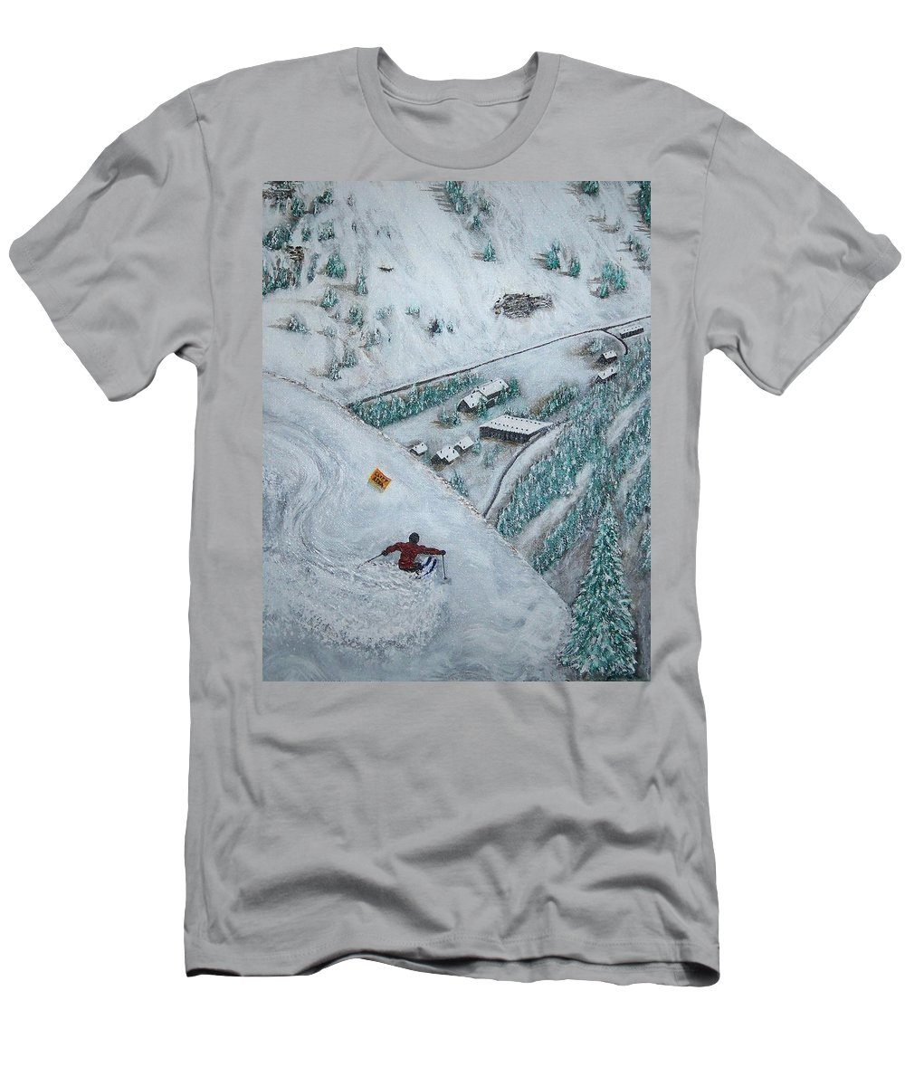 Ski Men's T-Shirt (Athletic Fit) featuring the painting Snowbird Steeps by Michael Cuozzo