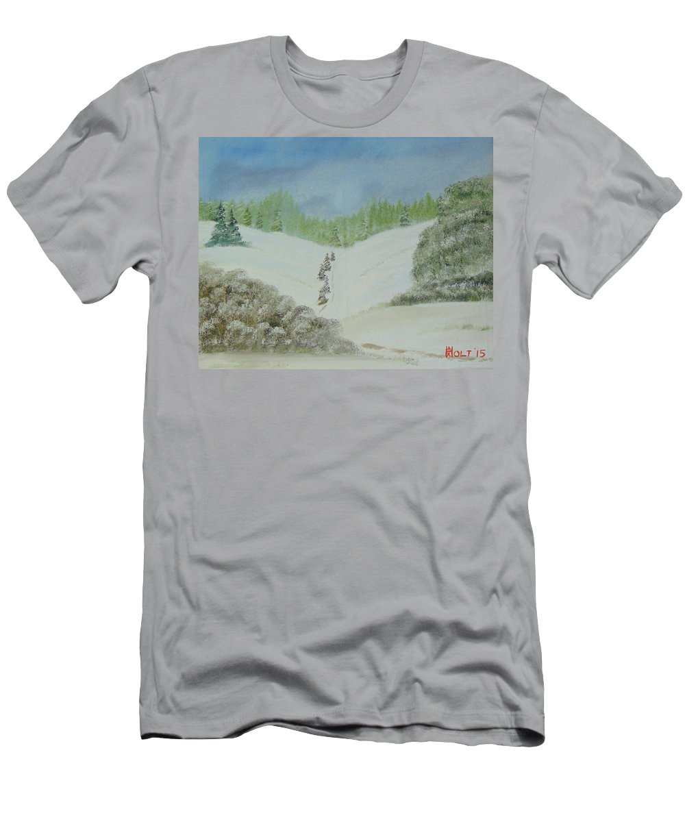 Bob Ross Style Men's T-Shirt (Athletic Fit) featuring the painting Snowfall In The Valley by Alan K Holt