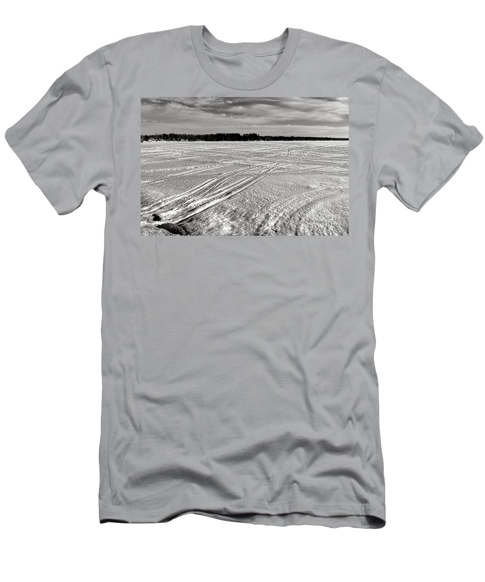 China Men's T-Shirt (Athletic Fit) featuring the photograph Snowmobile Tracks On China Lake by Olivier Le Queinec