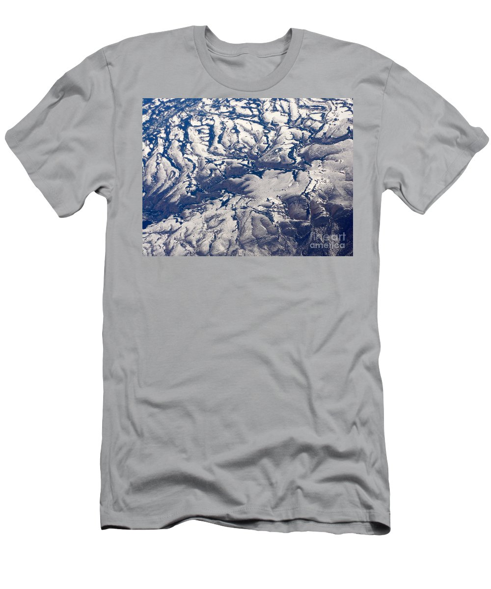 Aerial Men's T-Shirt (Athletic Fit) featuring the photograph Snowy Landscape Aerial by Carol Groenen