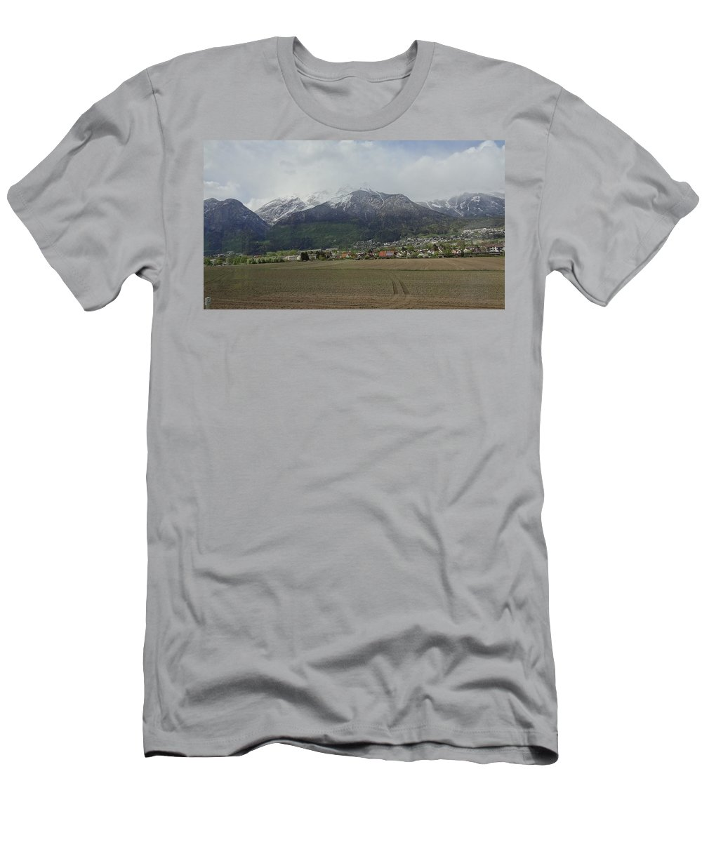 Snowy Mountains Men's T-Shirt (Athletic Fit) featuring the photograph Snowy Mountains by Hitesh Patel