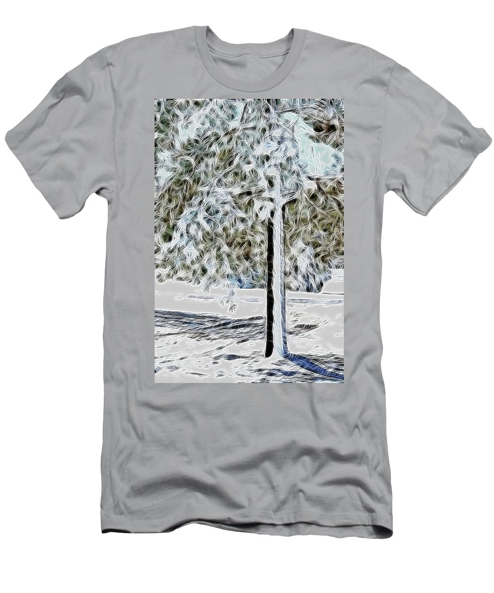 Snow Prints Men's T-Shirt (Athletic Fit) featuring the photograph Snowy Tree by Lisa Stanley
