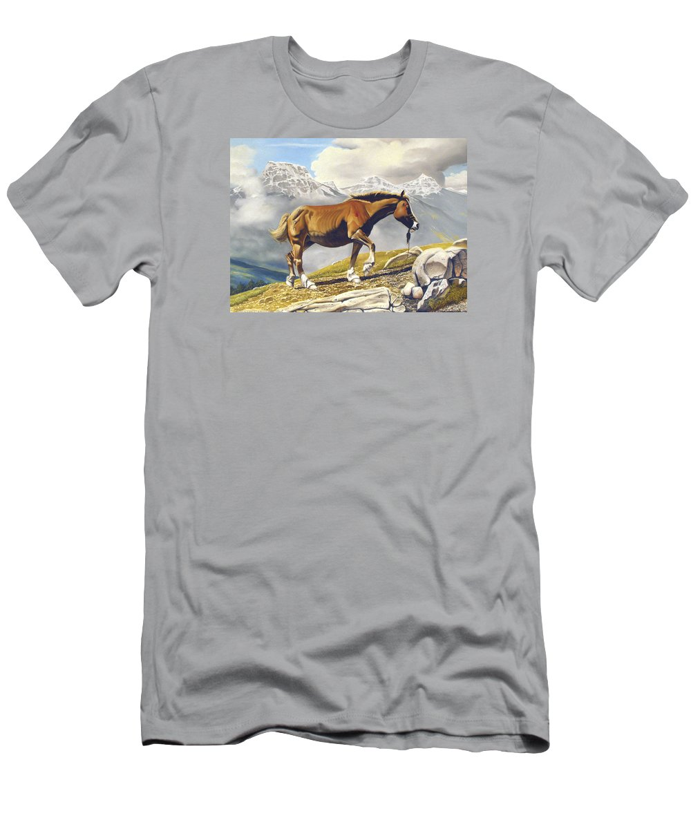 Horse Men's T-Shirt (Athletic Fit) featuring the painting Sole Survivor by Marc Stewart