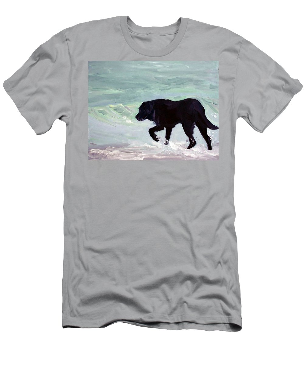 Black Men's T-Shirt (Athletic Fit) featuring the painting Solitary Stroll by Sheila Wedegis