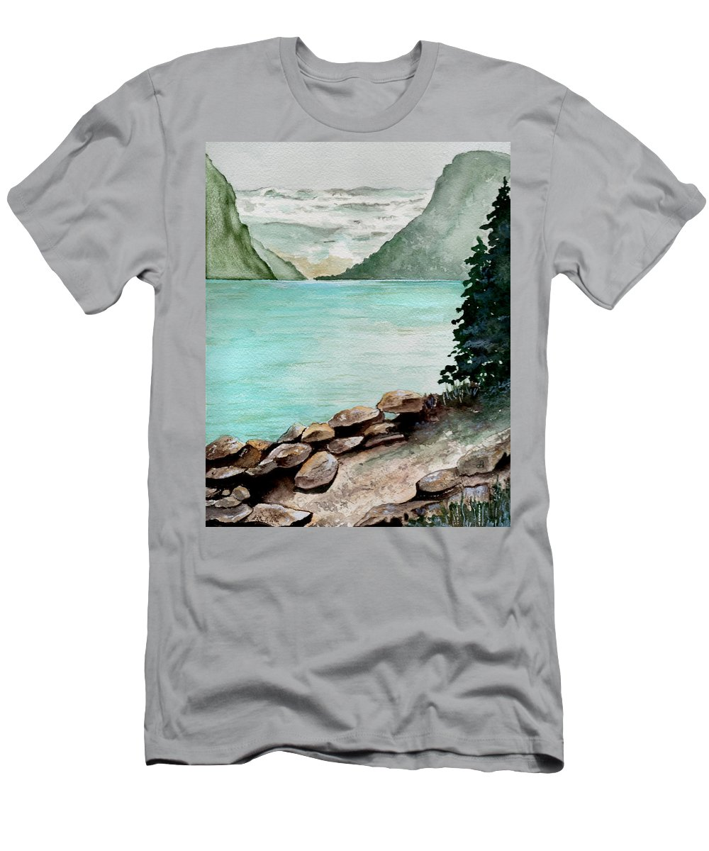 Watercolor Men's T-Shirt (Athletic Fit) featuring the painting Solitude Of The Lake by Brenda Owen