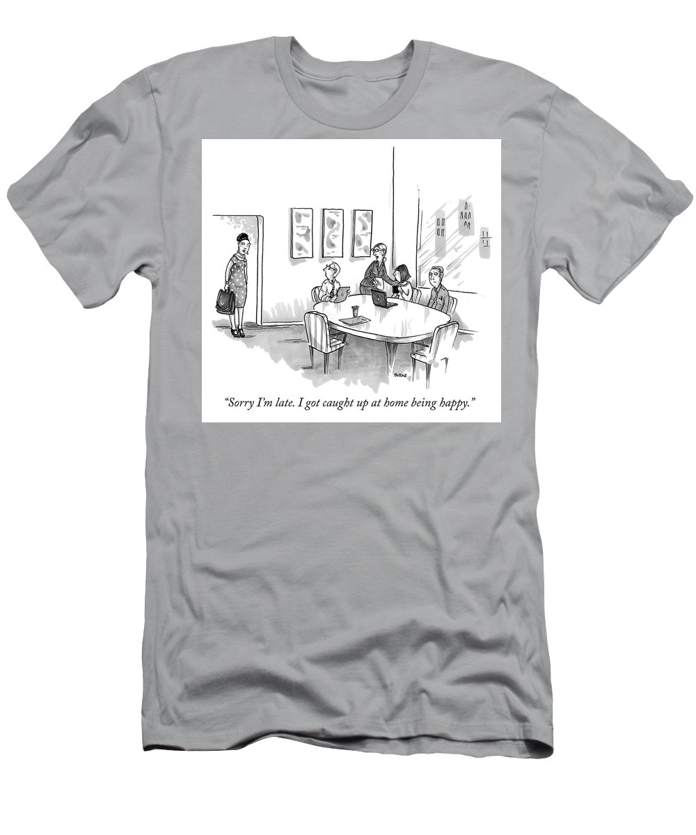"""sorry I'm Late Men's T-Shirt (Athletic Fit) featuring the drawing Sorry Im Late by Teresa Burns Parkhurst"