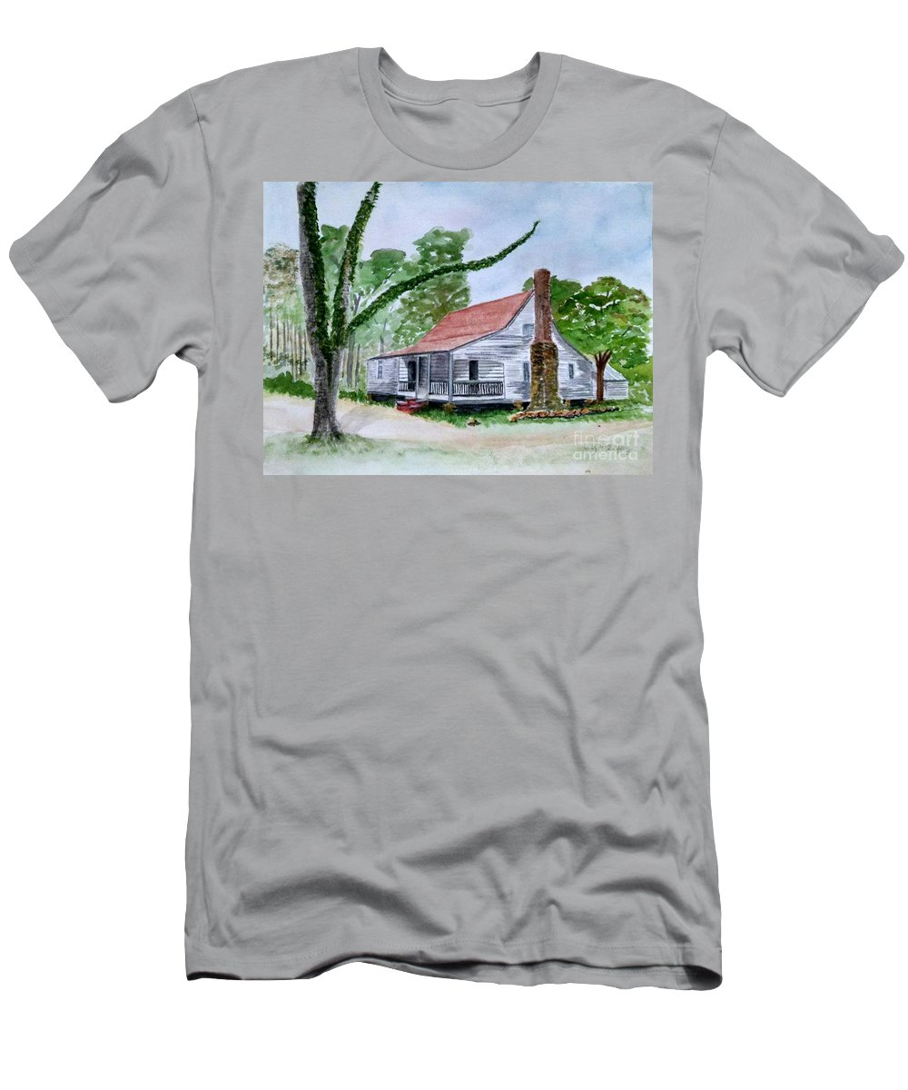 Jarrell Plantation Men's T-Shirt (Athletic Fit) featuring the painting Southern Home by Lucy McGuffey