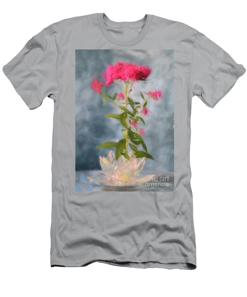 Spirea Men's T-Shirt (Athletic Fit) featuring the photograph Spirea In Crystal by Betty LaRue