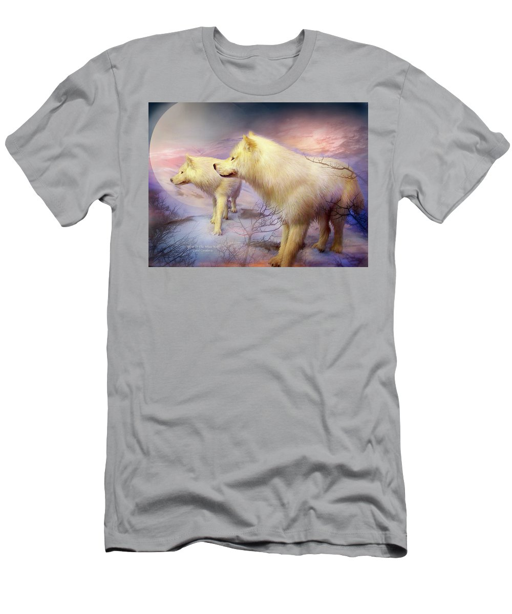 White Wolf Men's T-Shirt (Athletic Fit) featuring the mixed media Spirit Of The White Wolf by Carol Cavalaris