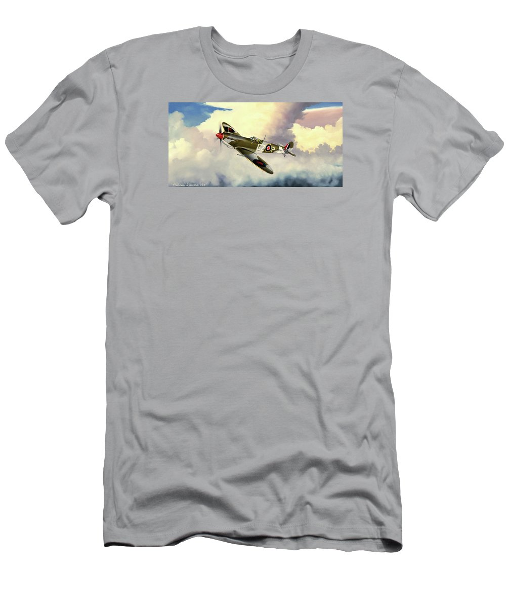 Military T-Shirt featuring the painting Spitfire by Marc Stewart