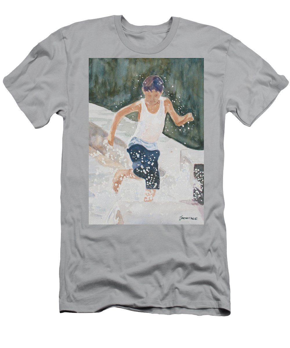 Boy Men's T-Shirt (Athletic Fit) featuring the painting Splash Dance by Jenny Armitage