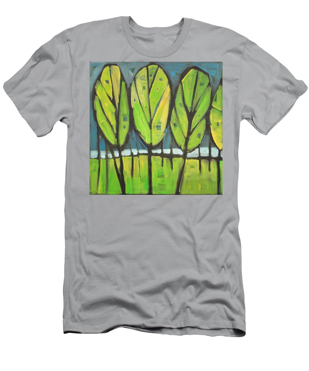 Spring Men's T-Shirt (Athletic Fit) featuring the painting Spring At The Lake by Tim Nyberg