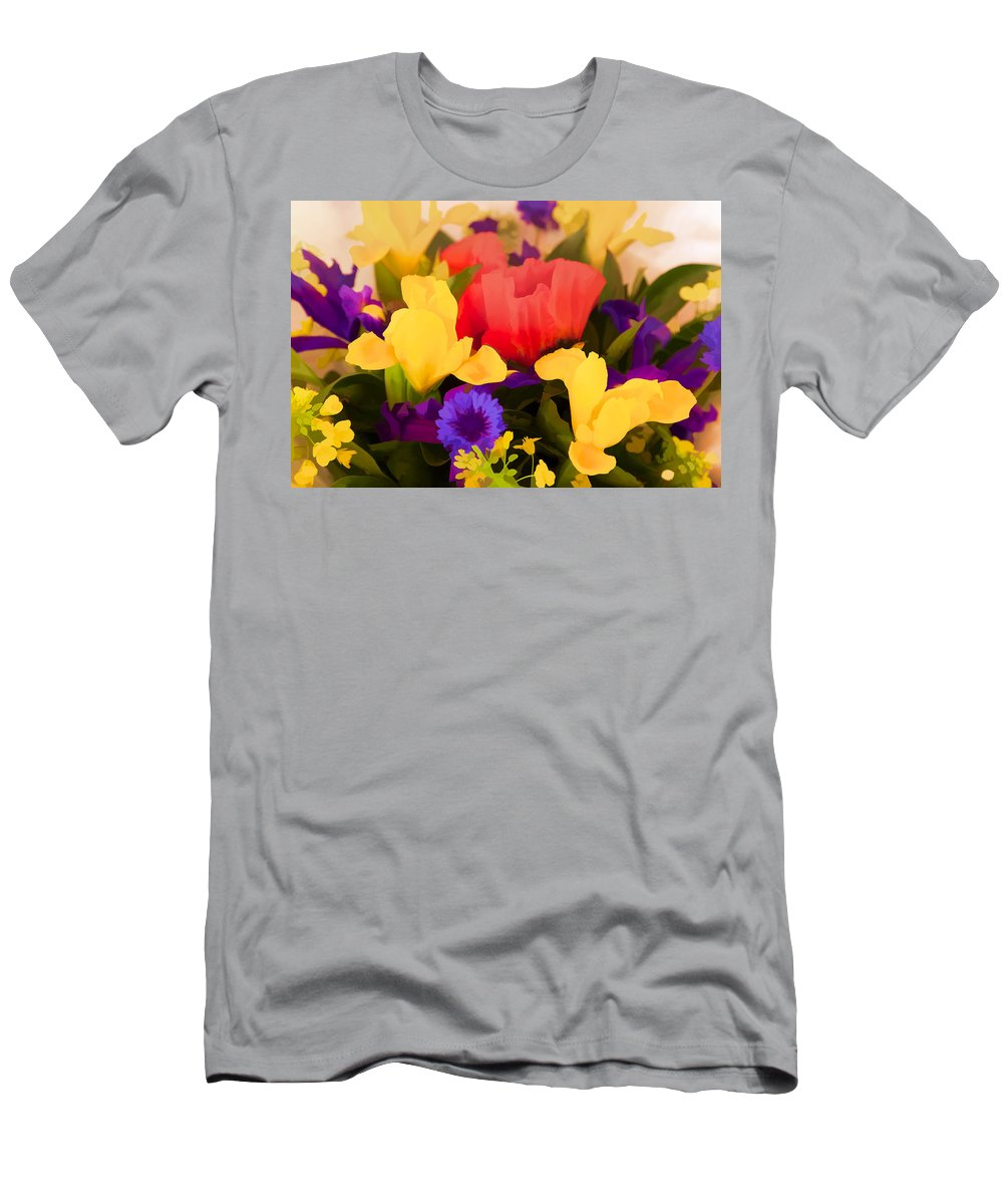 Flowers Men's T-Shirt (Athletic Fit) featuring the digital art Spring Bouquet by Janet Fikar