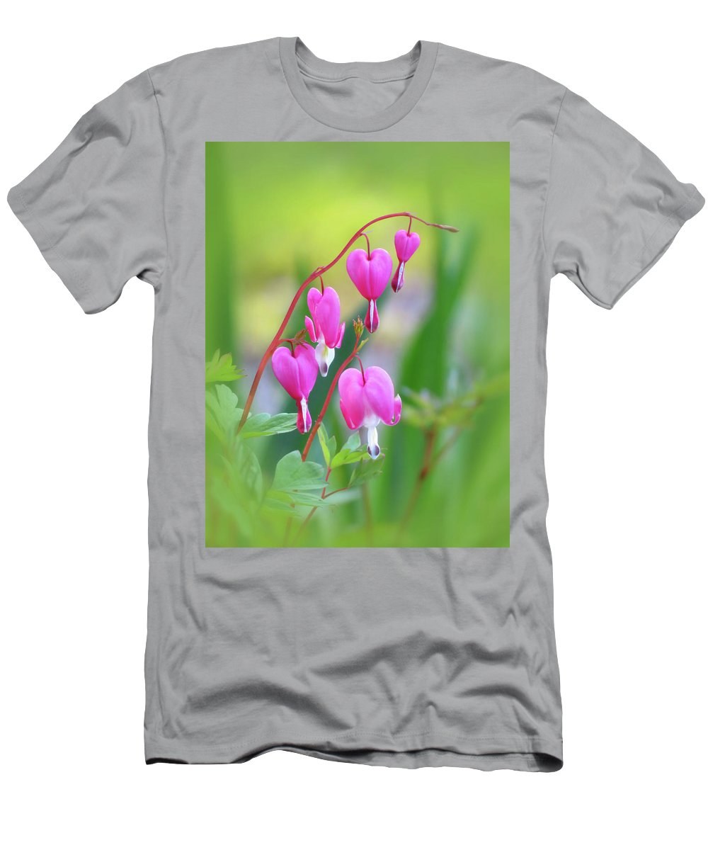 Bleeding Heart Men's T-Shirt (Athletic Fit) featuring the photograph Spring Hearts - Flowers With Vignette by MTBobbins Photography