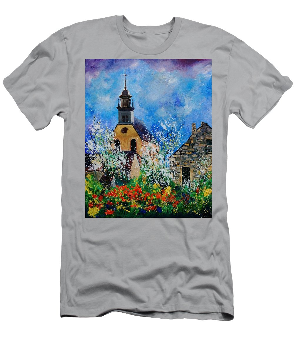 Spring Men's T-Shirt (Athletic Fit) featuring the painting Spring In Foy Notre Dame Dinant by Pol Ledent