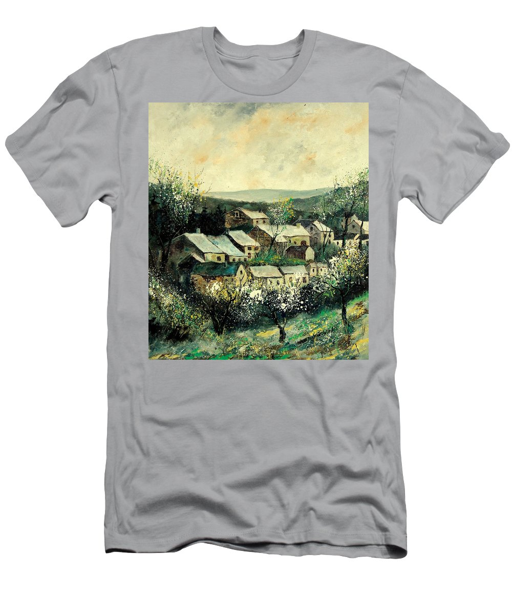 Spring Men's T-Shirt (Athletic Fit) featuring the painting Spring In The Ardennes Belgium by Pol Ledent