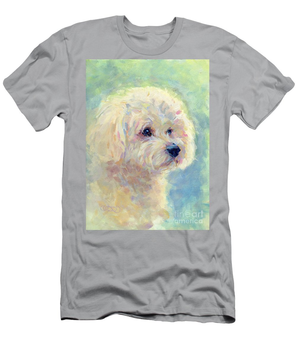 Pet Portrait Men's T-Shirt (Athletic Fit) featuring the painting Spring Mickee by Kimberly Santini