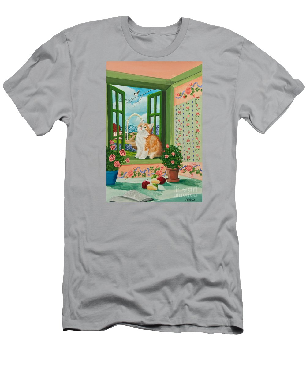 Kittens Men's T-Shirt (Athletic Fit) featuring the painting Spring Through My Window by Charlotte Blanchard
