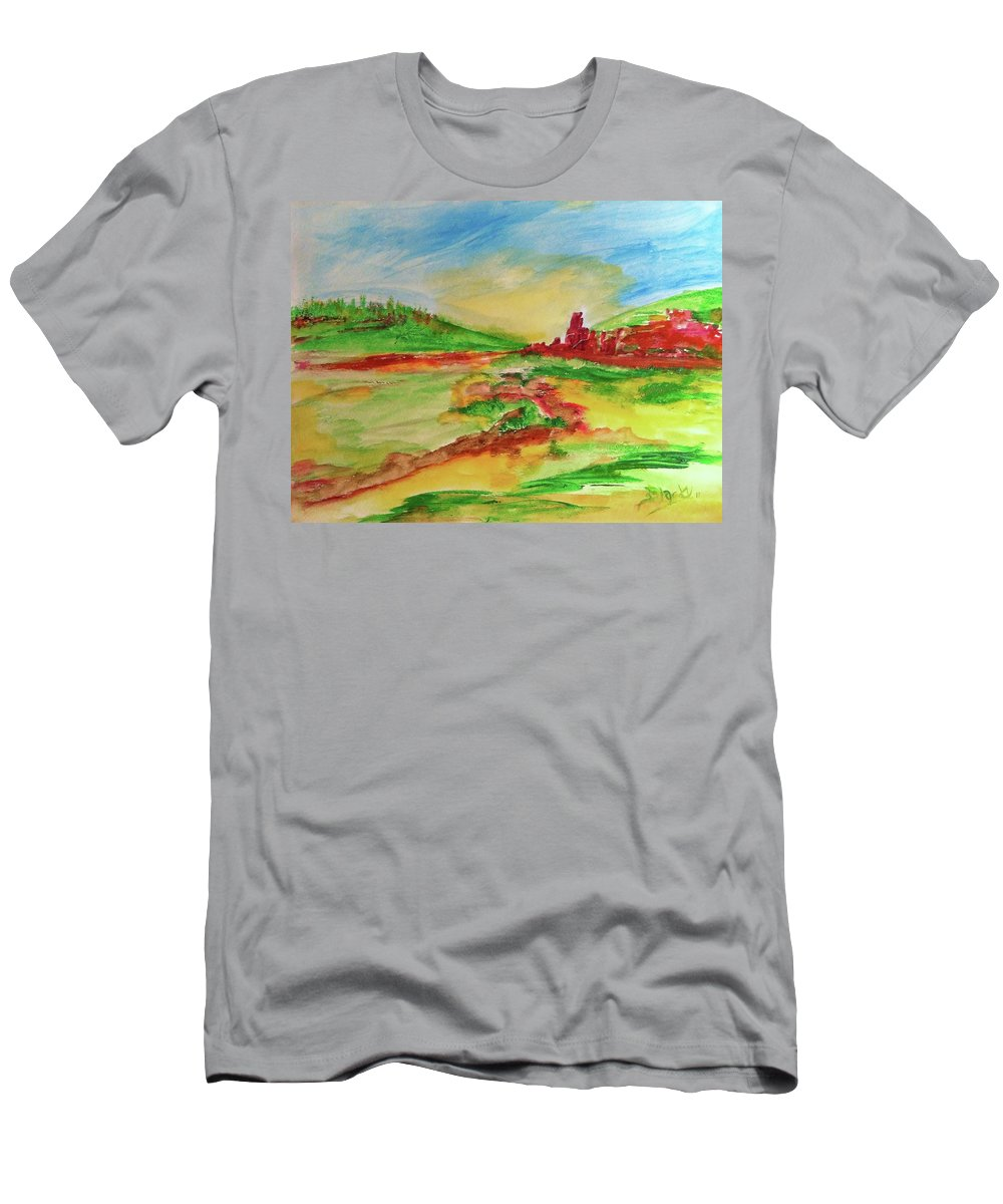 Spring Men's T-Shirt (Athletic Fit) featuring the painting Springtime In The Valley by Donna Blackhall
