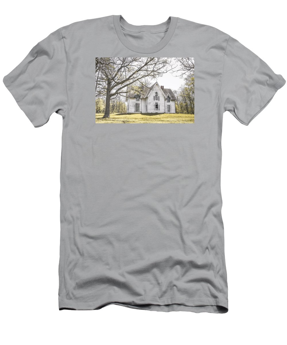 Abandonment Men's T-Shirt (Athletic Fit) featuring the photograph Springtime Ledge Homestead by Dawn Braun