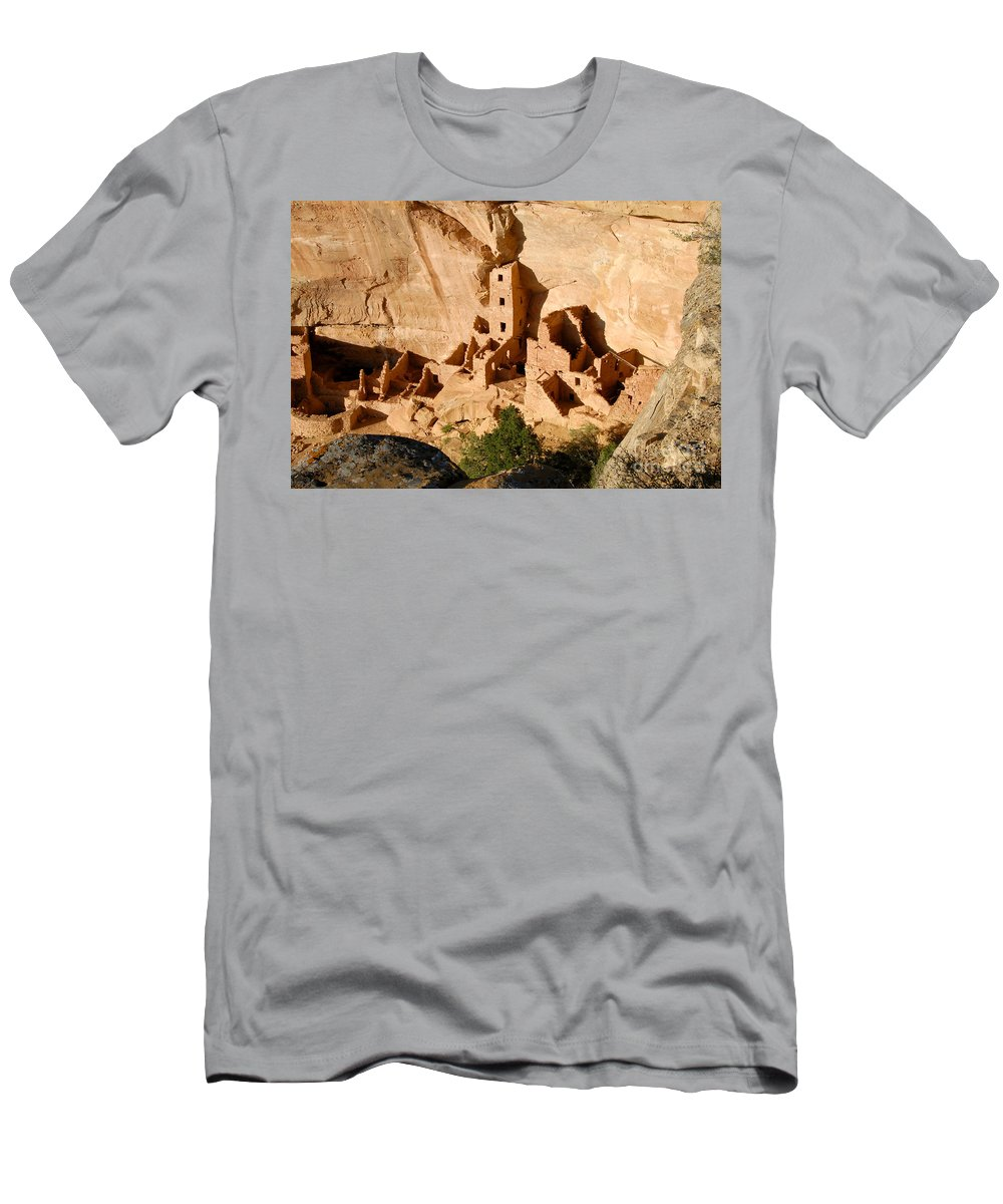 Square Tower Men's T-Shirt (Athletic Fit) featuring the photograph Square Tower Ruin by David Lee Thompson