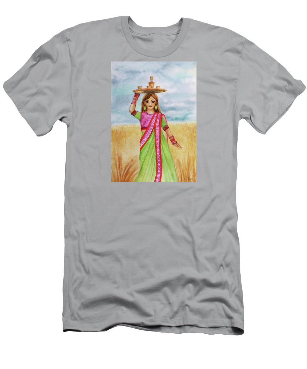 The Indian Men's T-Shirt (Athletic Fit) featuring the painting Squaw by Alla Kolerskaya