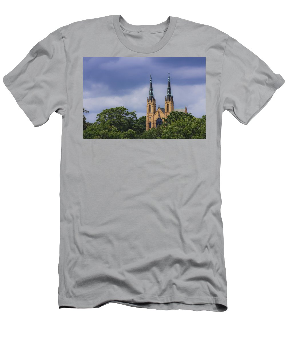Saint Men's T-Shirt (Athletic Fit) featuring the photograph St Andrews Catholic Church Roanoke Virginia by Teresa Mucha