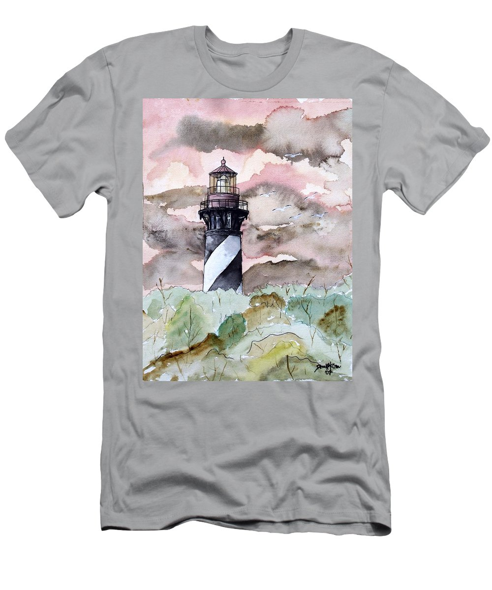 Lighthouse Men's T-Shirt (Athletic Fit) featuring the painting St Augustine Lighthouse by Derek Mccrea