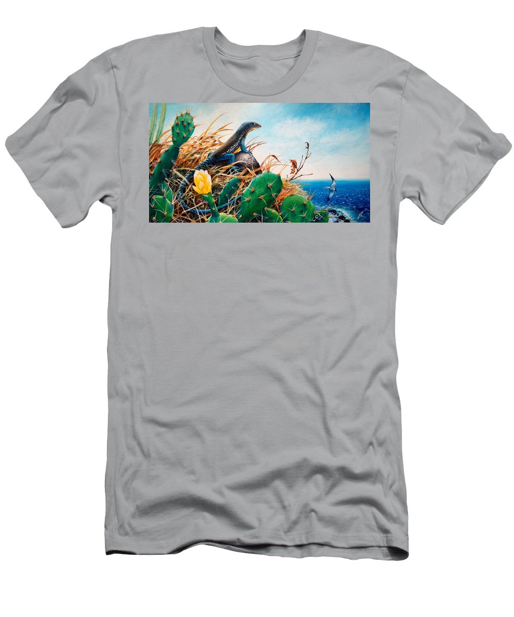 Chris Cox Men's T-Shirt (Athletic Fit) featuring the painting St. Lucia Whiptail by Christopher Cox