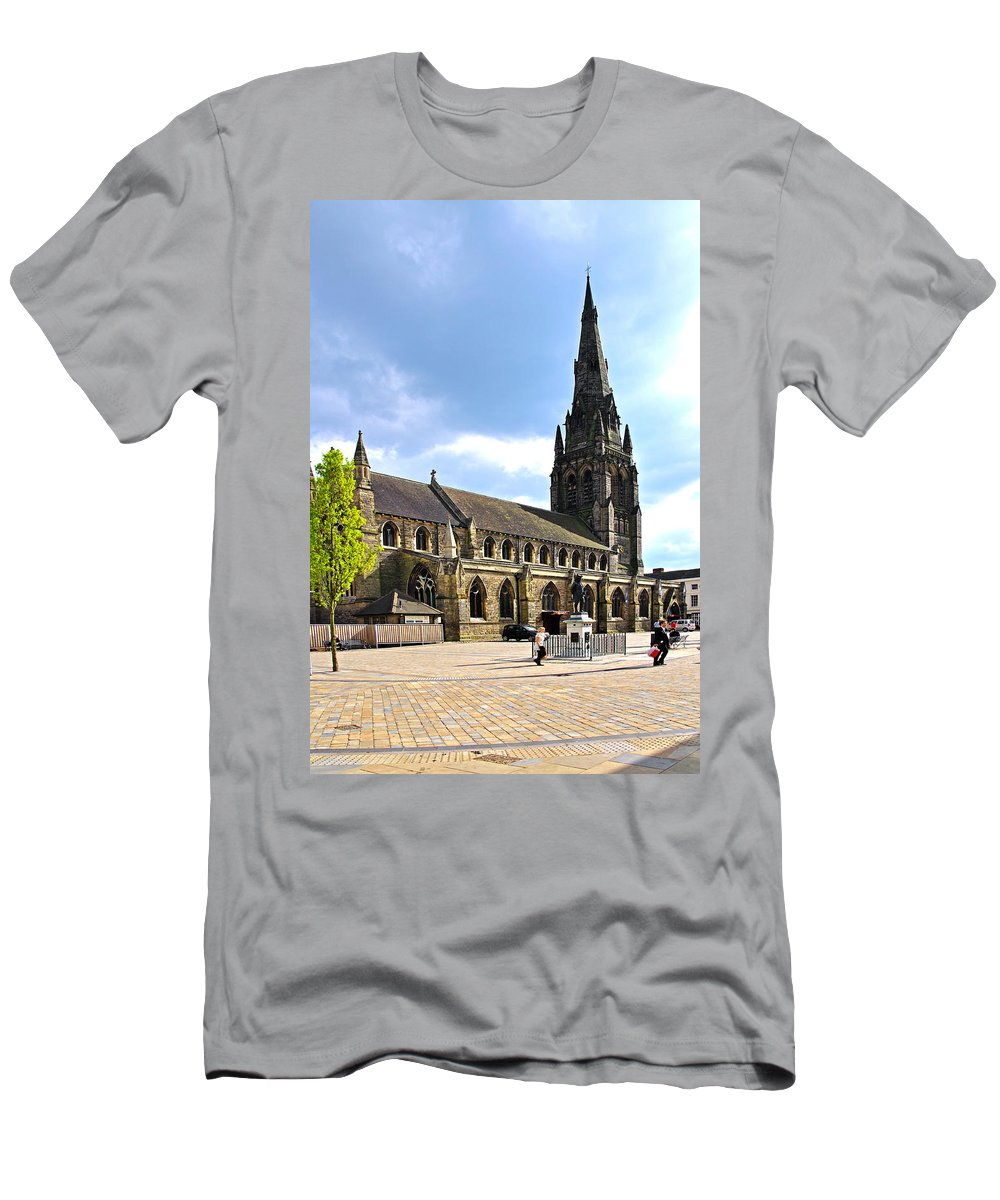 James Boswell Men's T-Shirt (Athletic Fit) featuring the photograph St Mary's Church At Lichfield by Rod Johnson
