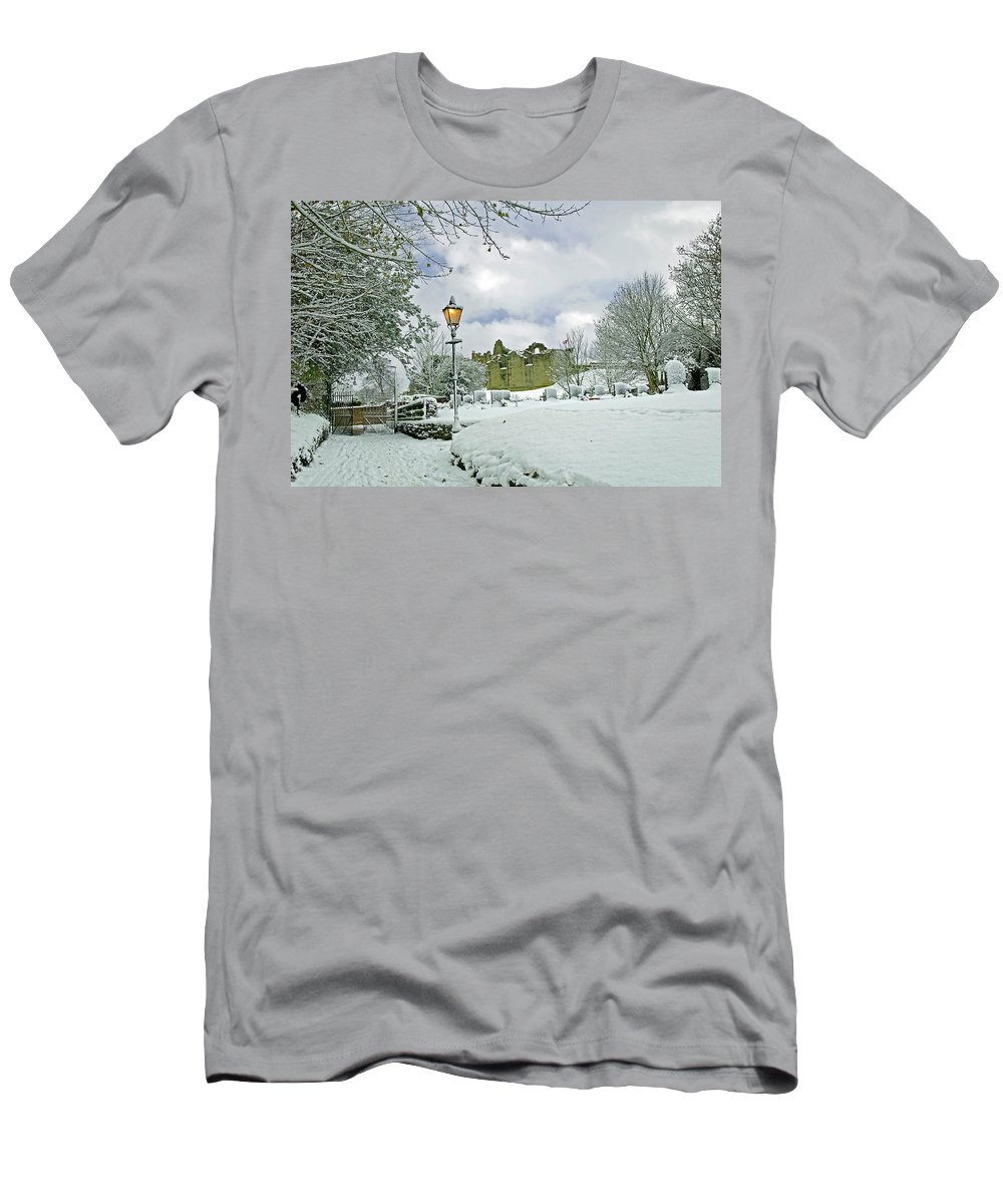 England Men's T-Shirt (Athletic Fit) featuring the photograph St Mary's Churchyard - Tutbury by Rod Johnson