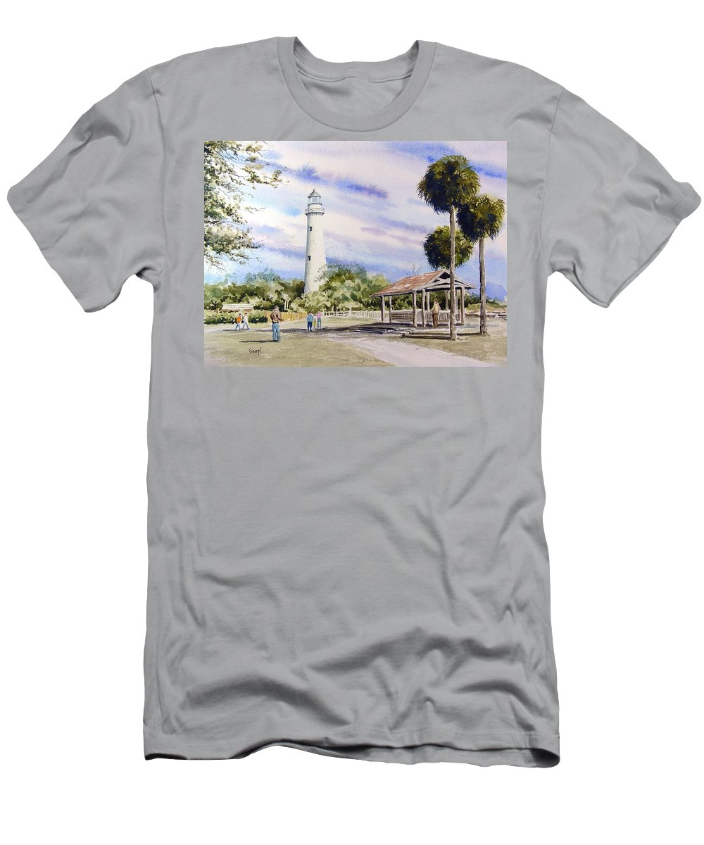 Lighthouse T-Shirt featuring the painting St. Simons Island Lighthouse by Sam Sidders