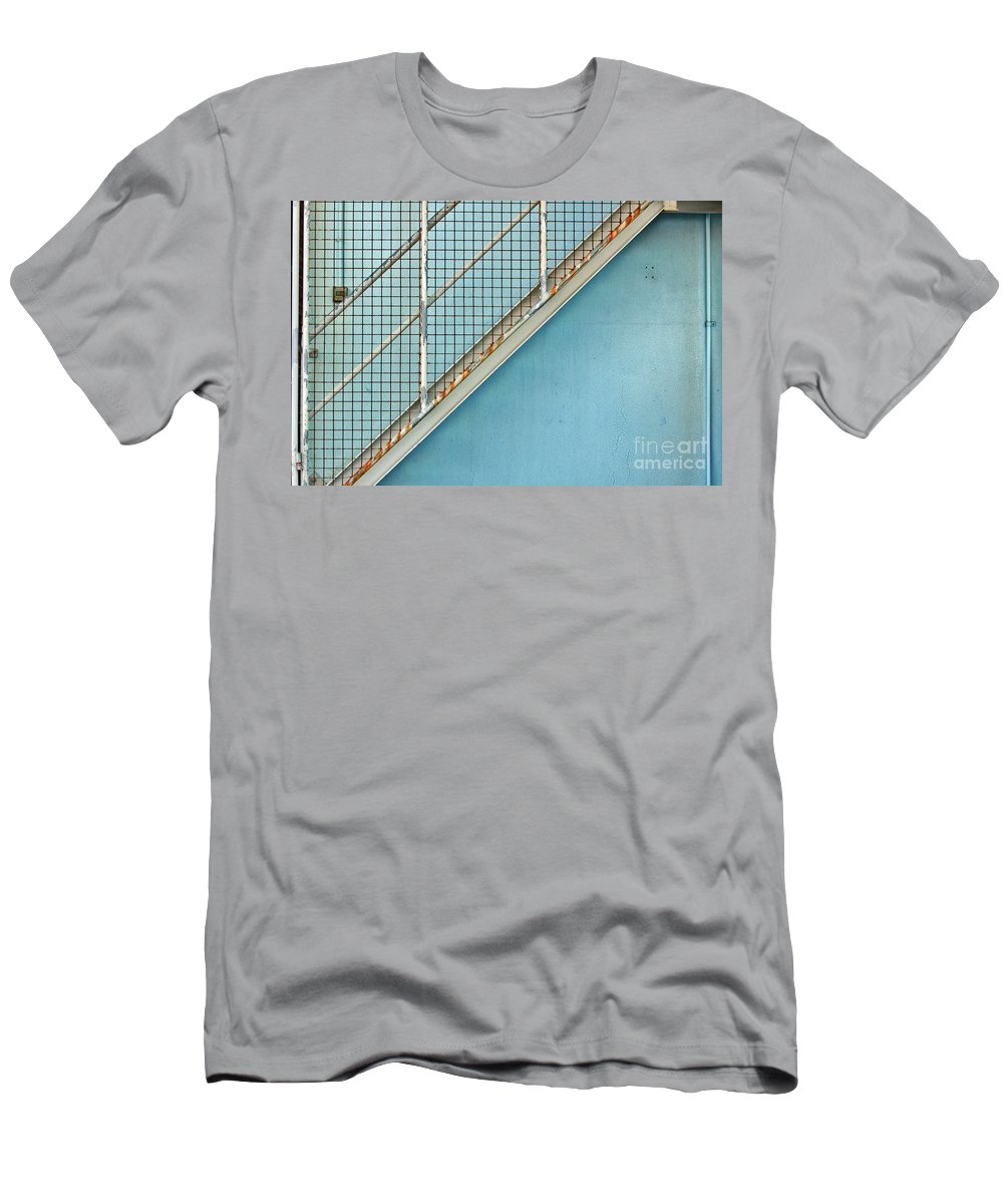 Stairs Men's T-Shirt (Athletic Fit) featuring the photograph Stairs On Blue Wall by Stephen Mitchell